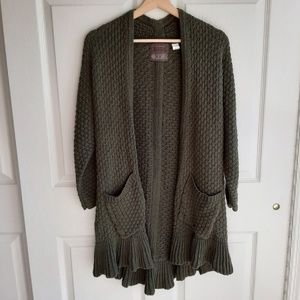 Guinevere Green Open Front Cardigan Size Small